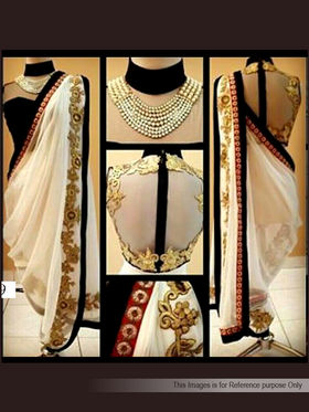 Arisha Georgette Embroidered Saree - White