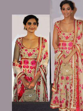 Arisha Georgette Embroidered Semi-Stitched Anarkali Suit - Pink And Beige
