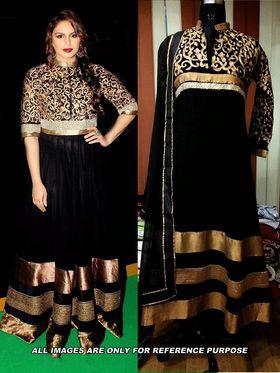Arisha Georgette Embroidered Semi-Stitched Anarkali Suit - Black - 6107