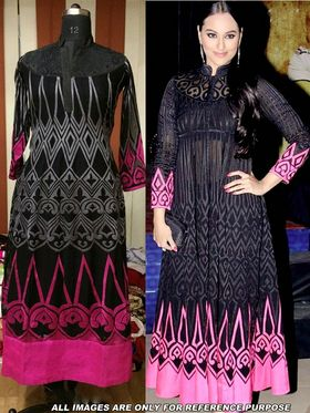 Arisha Georgette Embroidered Semi-Stitched Anarkali Suit - Black And Pink