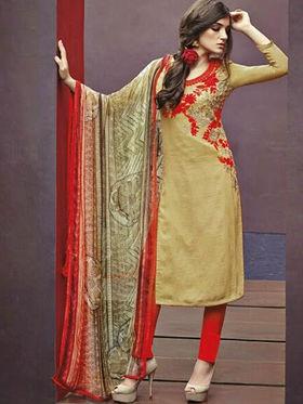 Arisha Enterprises Pure Cotton Embroidered Dress Material - Beige