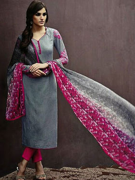 Arisha Enterprises Pure Cotton Embroidered Dress Material - Grey - ARA411