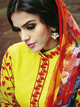 Arisha Enterprises Pure Cotton Embroidered Dress Material - Yellow - ARA415