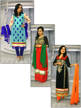 Avni Set of 3 Embroidered Semi Stitched Suits by Varanga