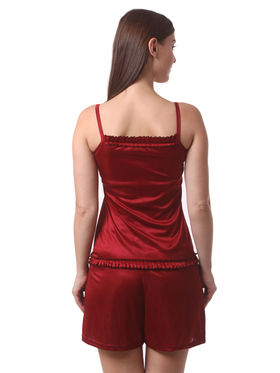 Set Of 4 Being Fab Satin Lycra Solid Nightwear -fbl30