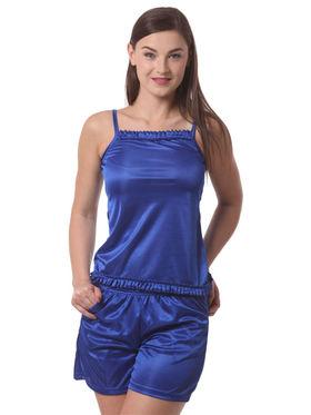 Set Of 4 Being Fab Satin Lycra Solid Nightwear -fbl34