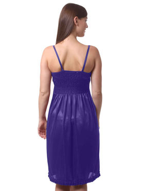 Set Of 2 Being Fab Satin Lycra Solid Nightwear -fbl05