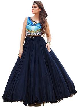 Styles Closet Embroidered Medi Silk  Semi-Stitched Blue Suit -Bnd-10021