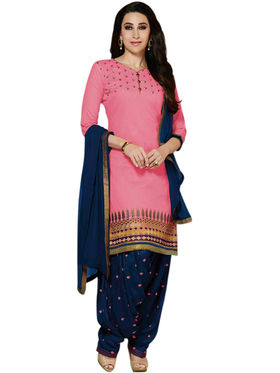 Styles Closet Embroidered Cotton Unstitched Pink Dress Material -Bnd-5031