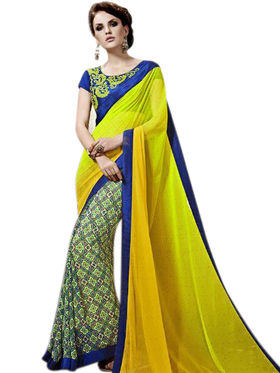 Styles Closet Printed Georgette Yellow Sarees -Bnd-8745