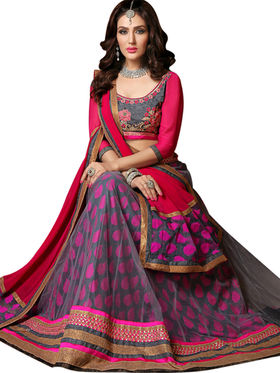 Styles Closet Designer Net & Silk Semi Stitched Lehenga Choli -Bnd-A2005