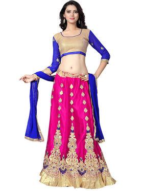 Styles Closet Designer Net & Silk Semi Stitched Lehenga Choli -Bnd-A2008