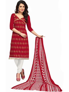 Khushali Fashion Chanderi Embroidered Unstitched Dress Material -BRCRN1003