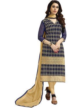 Khushali Fashion Velvet Embroidered Unstitched Dress Material -BRCVLT1004