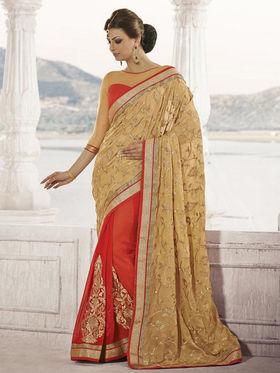 Bahubali Brasso Embroidered Saree - Light Gold - HT.53109