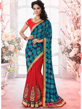 Bahubali Brasso And Georgette Embroidered Saree - GA.50411