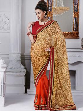 Bahubali Satin Chiffon Embroidered Saree - Multicolor - GA.50230