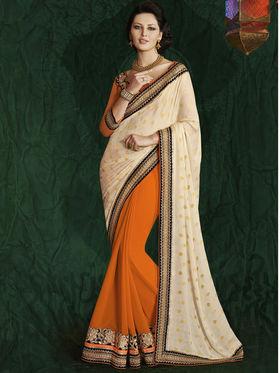 Bahubali Crepe Jacquard Embroidered Saree - Cream - RA.10216