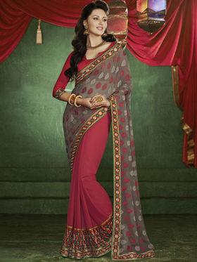 Bahubali Georgette Jacquard Embroidered Saree - Red - RA.10233