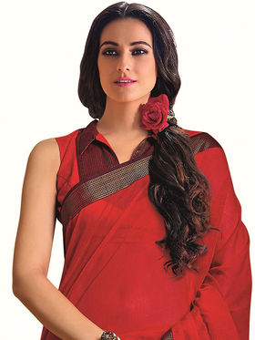 Nanda Silk Mills Plain Cotton Red Saree -Berry