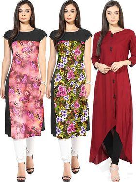 Combo of 3 Bhuwal Fashion Printed American Crepe Multicolor Kurti -Bfcom001