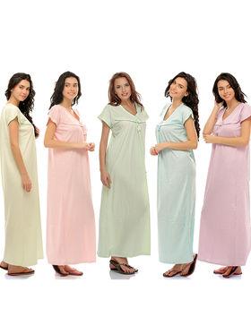 Pack of 5 Clovia Pure Cotton Plain Nighty -Combns002