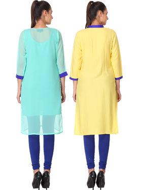 Pack of 2 Lavennder Embroidered Georgette & Rayon Kurti -la01