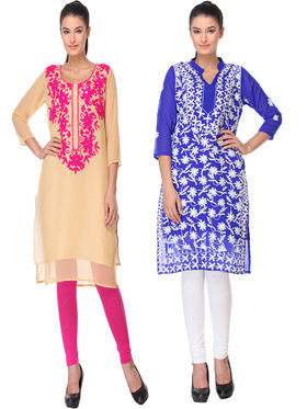 Pack of 2 Lavennder Embroidered Georgette Kurti -la04