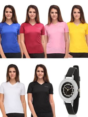 Combo of 6 Tshirts with 1 Watch -OTSO-C-2 S