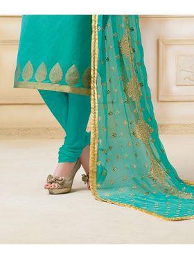 Viva N Diva Semi Stitched Banarasi Chanderi Jacquard Embroidered Suit  Color-Blossom-03-1045