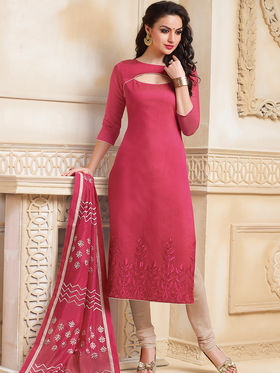 Viva N Diva Semi Stitched Banarasi Chanderi Embroidered Suit Color-Blossom-03-1047