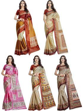 Pack of 5 Printed Taffeta Saree-swb25