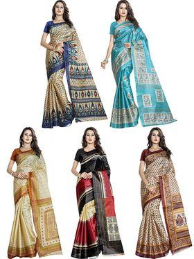 Pack of 5 Printed Taffeta Saree-swb26