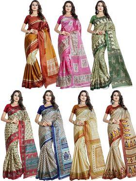 Pack of 7 Printed Taffeta Saree-swb27