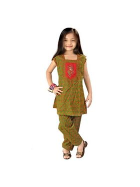 Little India Pure Cotton Printed Salwar Suit - Green