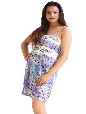 Fasense Hosiery Cotton Printed Nightwear Short Nighty -DP014C1