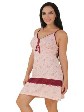 Fasense Shinker Cotton Floral Print Nightwear Short Nighty -DP154A1