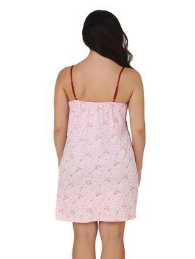 Fasense Shinker Cotton Floral Print Nightwear Short Nighty -DP154B1