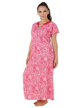 Fasense Shinker Cotton Printed Nightwear Long Nighty -DP158B1