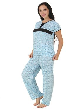 Fasense Shinker Cotton Printed Nightwear Set of Top & Pyjama -DP162C1