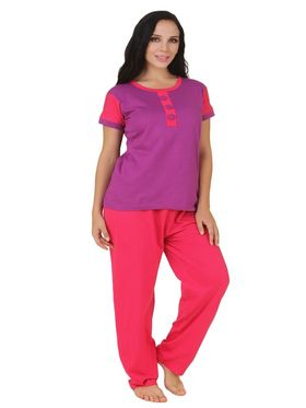 Fasense Shinker Cotton Solid Print Nightwear Set of Top & Pyjama -DP164A1
