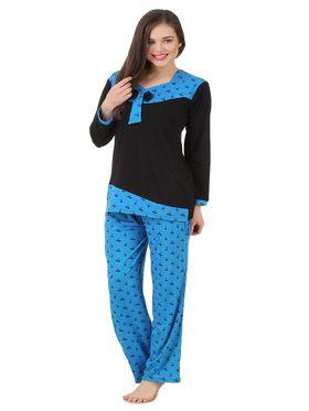 Fasense Shinker Cotton Solid Printed Nightwear Set of Top & Pyjama -DP170B1