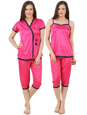 Fasense Satin Solid Nightwear Set of 3 pc of Wrap Gown Top & Capry -DP176A2