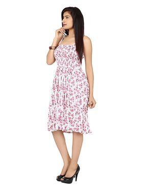 Arisha Cotton Printed Dress DRS1017_Wht-Pnk