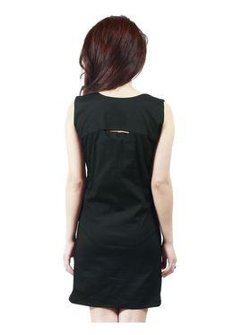 Arisha Cotton Solid Dress DRS1019_Blk