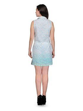 Arisha Cotton Printed Dress DRS1021_Wht-Grn