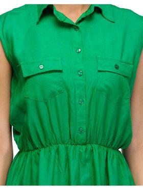 Arisha Viscose Solid Dress DRS1023_Grn