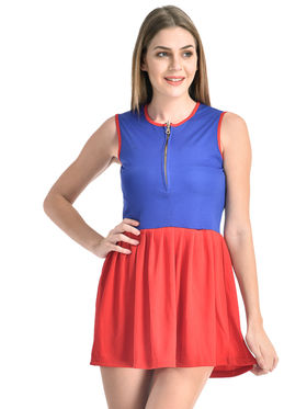Arisha Viscose Solid Dress DRS1069_Blu-Rd