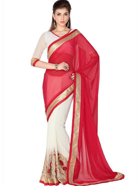 Designersareez Faux Georgette Embroidered Saree - Red & White