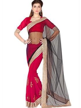 Designersareez Net & Faux Georgette Embroidered Saree - Black & Red